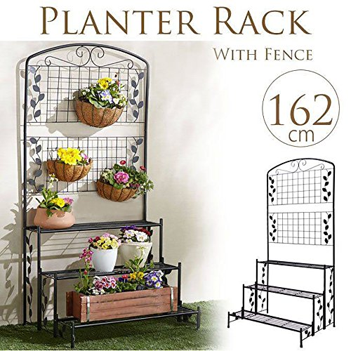Sungmor Heavy-duty 3 Tiers Planter Rack with Fence,Black Iron Art Gardening Plants Flower Pot Stands Supporter,31.5''Length x 23.6''Width x 63.8''Height by Sungmor