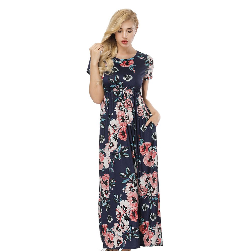 bluee ORICSSON Womens Short Sleeve Dress Mother and Daughter Floral Printed Dress with Side Pockets