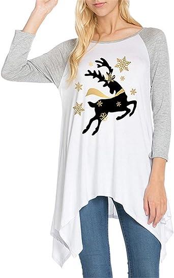 HaiDean Mujer Camisetas Manga Larga Elegantes Navidad Estampadas Alce T Shirt Modernas Casual Cuello Redondo Patchwork Asimétrica Largas Tops Otoño Invierno Moda Casual Camisas Blusa: Amazon.es: Ropa y accesorios