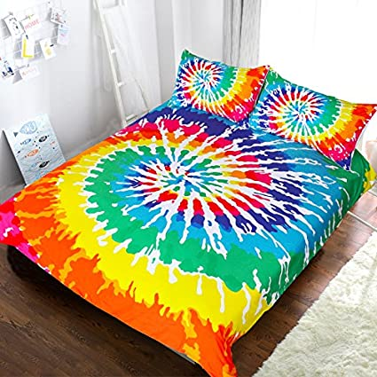 Rainbow Tie Dye Effect Print Fabric Quilted Coverlet /& Pillow Shams Set