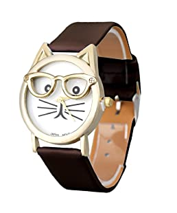Women Quartz Wristwatch,Hosamtel Girls Cute Glasses Cat Dial Analog Quartz Watch (Brown)