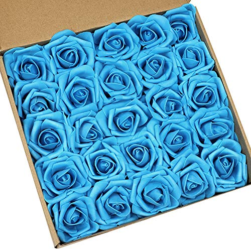 Teal Blue Flowers - N&T NIETING Artificial Flowers Roses, 25pcs Real Touch Artificial Foam Roses Decoration DIY for Wedding Bridesmaid Bridal Bouquets Centerpieces, Party Decoration, Home Display (Teal Blue)