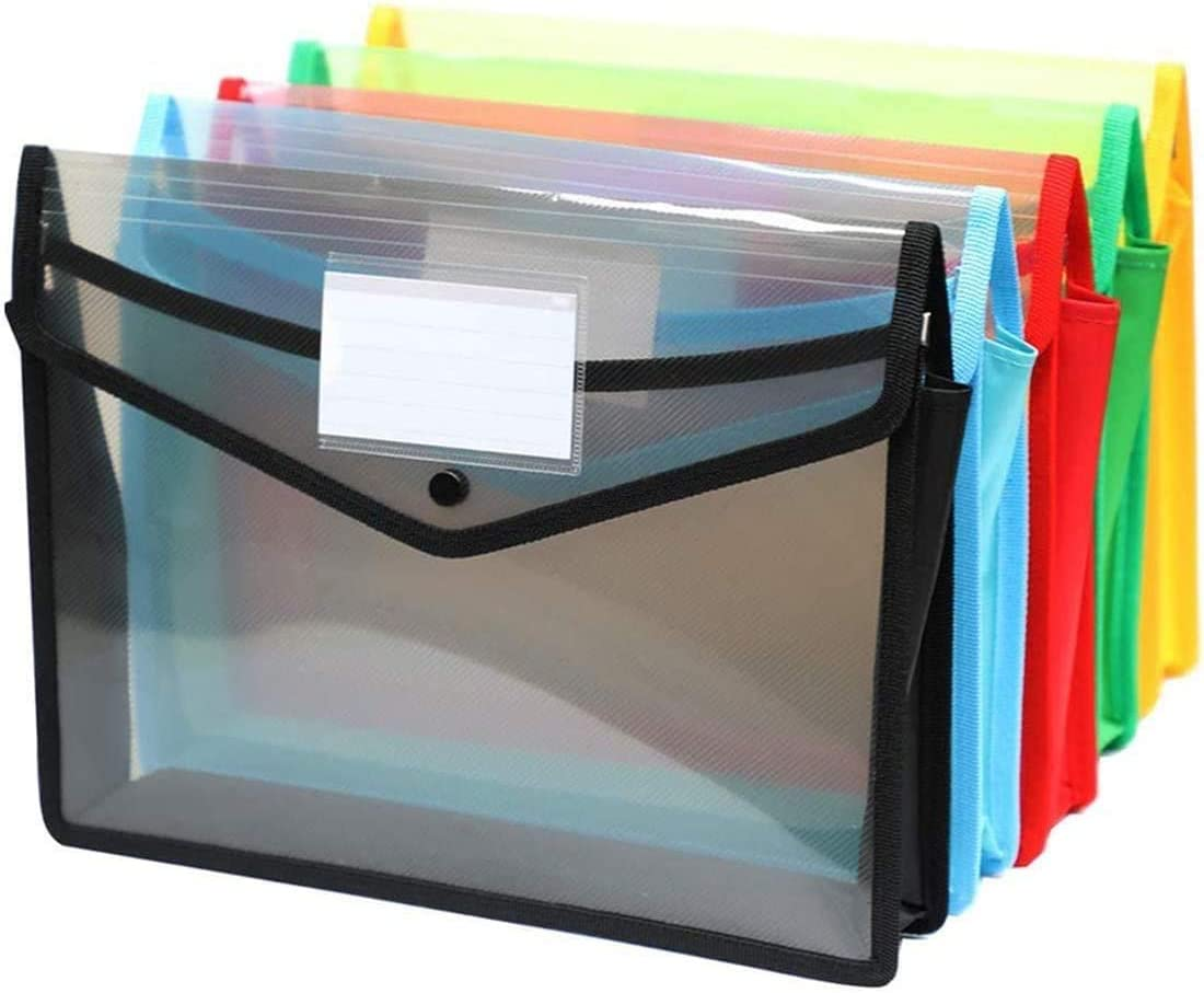 A4 Plastic Wallet Folders with Popper -Document Pockets with Button A4 Plastic Envelope Wallets Files A4 for School Office Home - Pack of 5 - Red Blue Yellow Green Black-5pack
