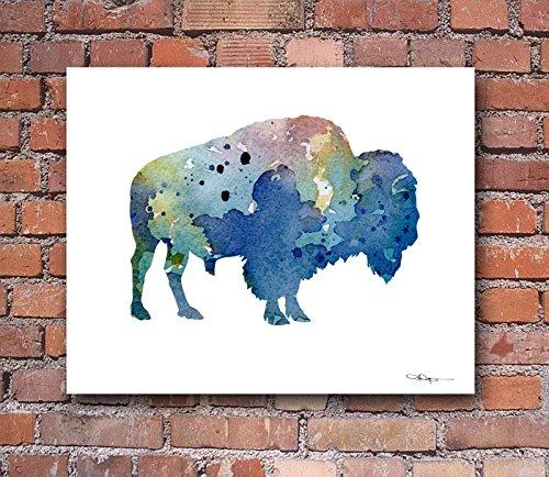 Blue Buffalo Abstract Watercolor Art Print By Artist DJ Rogers