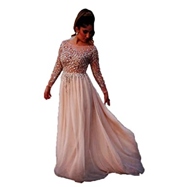 Lnxianee Long Sparking Crystal Long Sleeve Prom Dresses Formal Beaded Evening Party Gowns