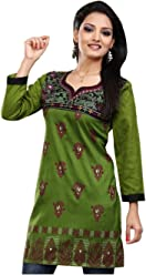 Unifiedclothes Women Fashion Casual Indian Short Kurti Tunic Kurta Top Shirt Dress ECCO12