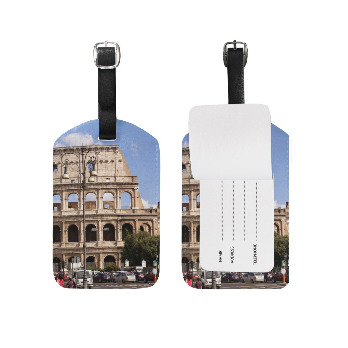 Rome Italy Colosseum City Travel Genuine Leather Luggage Tags Id Labels Holders(2 Pcs Set)