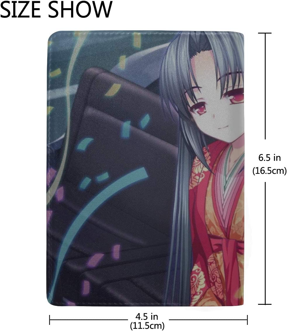 Asami Asami Fake Azure Arcology Girl Brunette Kimono Car Salutation Leather Passport Holder Cover Case Travel One Pocket