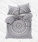 Kiara 3 Pcs Mandala Bedding Posture Million Romantic Soft Bedclothes Plain Quilt Coverlet Twill Boho Bohemian Duvet Cover Set Queen / Twin Size (Twin, Vintage Grey Ombra)