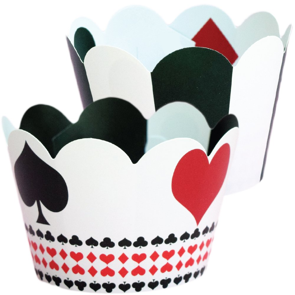 Casino Party Decorations, Poker Theme Cupcake Wrappers, 36 Cup Cake Wraps, Las Vegas Party Supplies, Adult Birthday Decor, Game Night Party Favor Bag Holders, Playing Card Themed