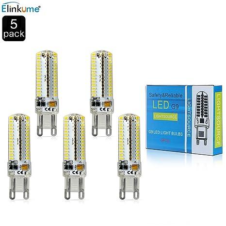ELINKUME 5 Pack 104 * 3014 G9 SMD LED Bombilla 7W blanco cálido 3000K ahorro de