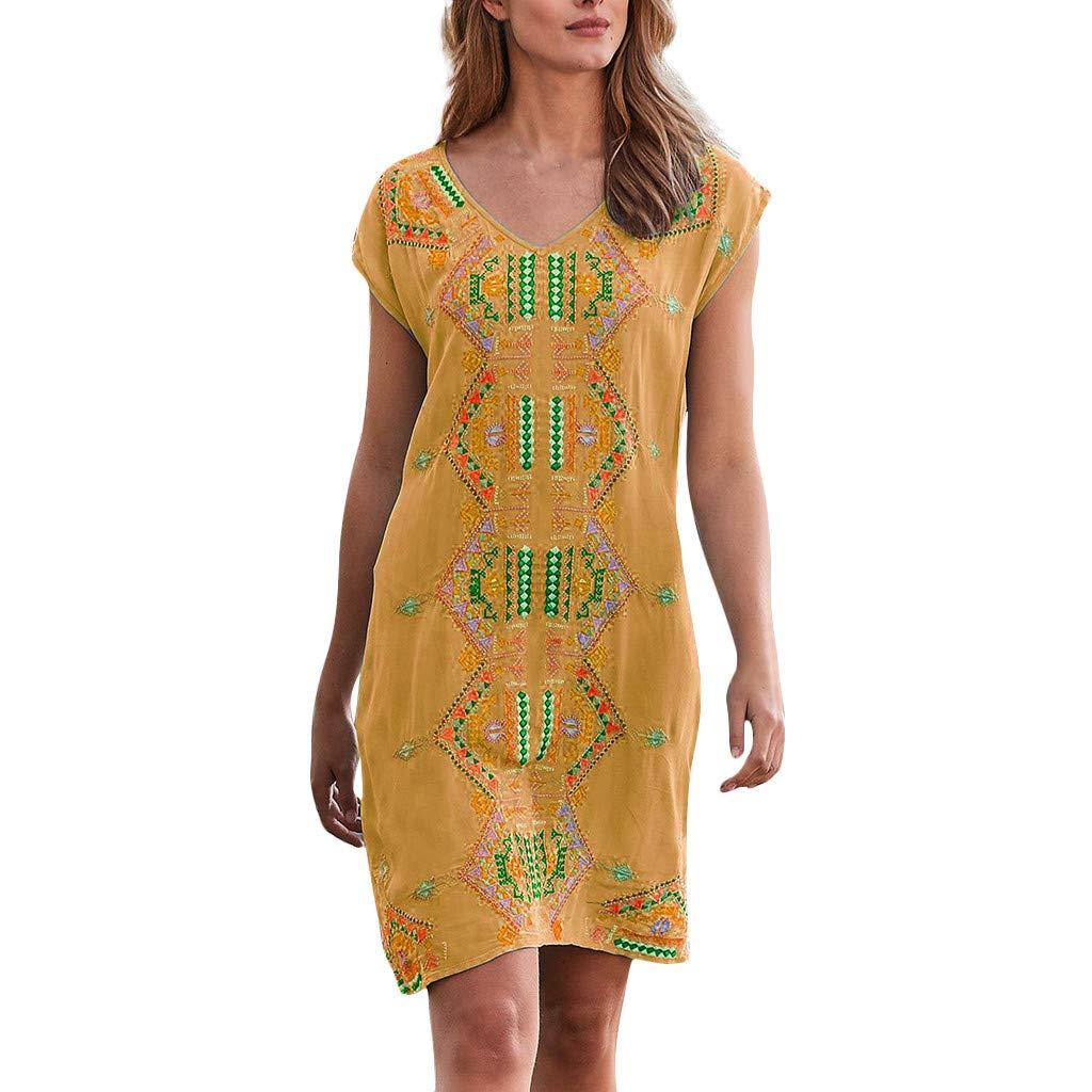Women V-Neck T-Shirt Dress, Boho Sleeveless Printed Beach Sundress Casual Irregular Tunic Short Dresses (XXXL, Yellow)