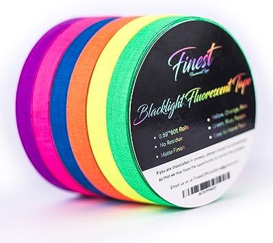 Bigger Size Fluorescent Neon Tape ,UV Blacklight Reactive,Gaffer Cloth Matt