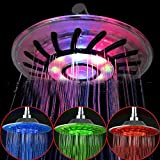 Longji 4 Mixed-color LED Shower Head Bathroom Sprinkler Romantic Automatic Control Ducha Rain Showers Heads Base Power