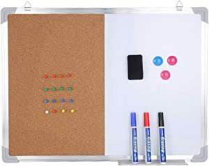 """24""""18"""" Combo Boards Hanging Board Half Cork Half whiteboard for Home Office Desk Dry Erase with 1 Magnetic Dry Eraser, 3 Markers, 3 Magnets and 16 Thumb Tacks"""