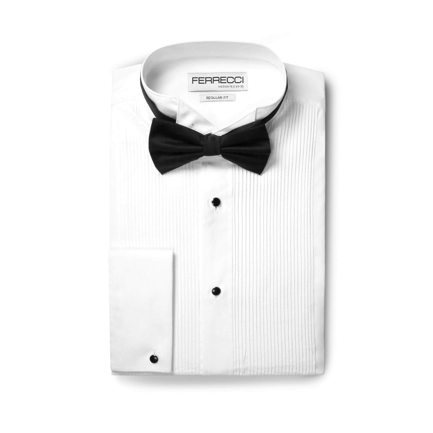Ferrecci Men's Max White Regular Fit Wing Tip Collar Pleated Tuxedo Shirt (XL17.5 36) by Ferrecci