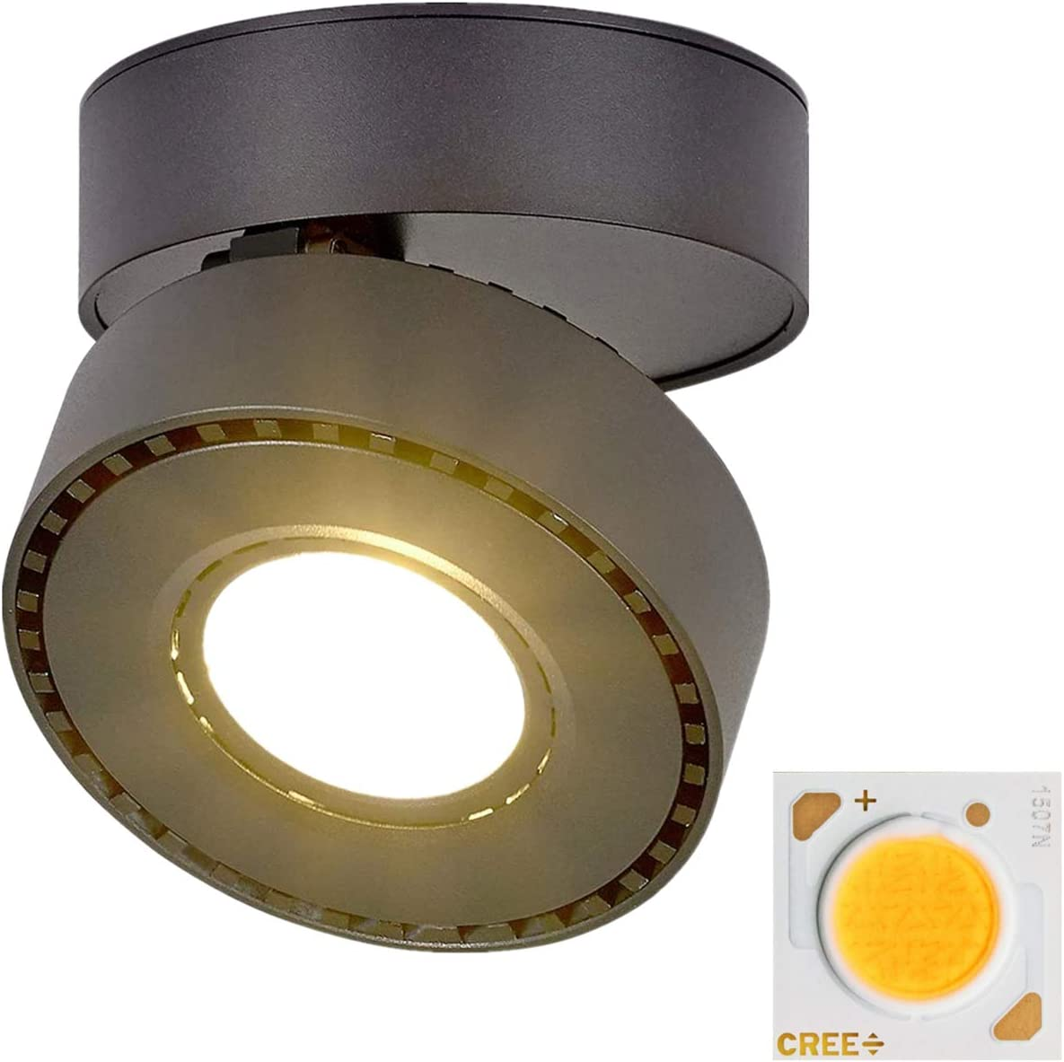 Yodaba Indoor Ceiling Spotlight 360°Adjustable,Uses 12W CREE CXA1507 LED Surface Mounted COB Lighting/3000K Warm White Light Ceiling Downlight/Aluminum Wall Swivel Lamp-for Home Gallery Display(Black)