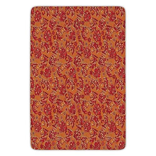 - Bathroom Bath Rug Kitchen Floor Mat Carpet,Batik Decor,Nostalgic Western European Medieval Renaissance Inspired Eastern Boho Pattern,Red Orange,Flannel Microfiber Non-slip Soft Absorbent