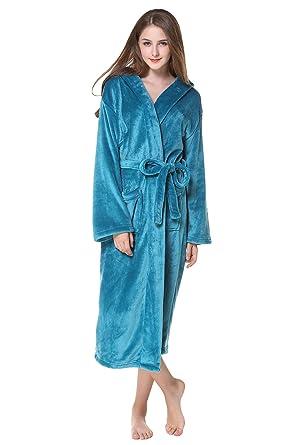 976cc9cc5 Babyonlinedress Peignoir Femme Velours Robe de Chambre Polaire Chaud Long  Flanelle Peignoir de Bain Eponge Hiver Longue A Capuche