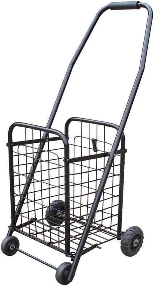 AZHOM Carretilla plegable portátil que sube escaleras para comprar un carrito de comida Carretilla de carretilla de carro de mano antigua remolque de equipaje Rueda de escalada de proceso de hierro re