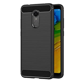 Coovertify Funda Shield Black Carbon Xiaomi Redmi 5 Plus, Carcasa Negra TPU Gel Silicona Flexible Efecto Fibra de Carbono para Xiaomi Redmi 5 Plus