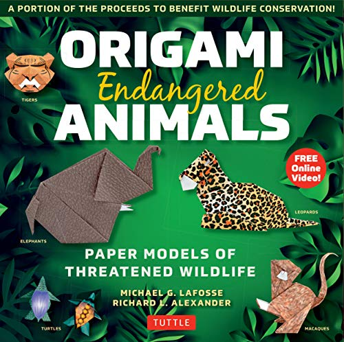 Origami Endangered Animals Kit: Paper Models of Threatened Wildlife [Includes Instruction Book with Conservation Notes, 48 Sheets of Origami Paper, FREE Online Video!]