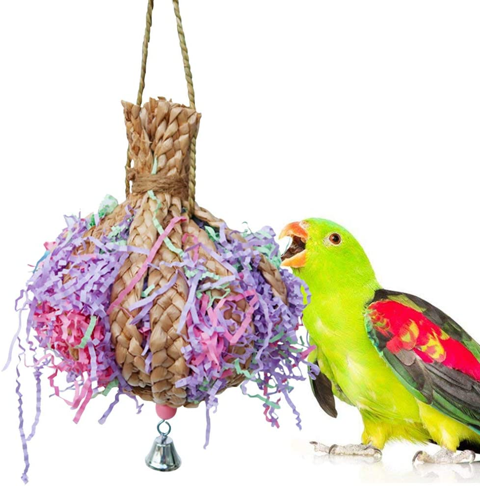 Hamiledyi Bird Toys Foraging Star Bird Chew Toy Super Shredder Ball- Will Keep Your Bird Busy for Weeks Foraging for Hidden Treasures Parrot Cage Toys Cages Shredder Cockatiel Conure (1Shredder Toy)
