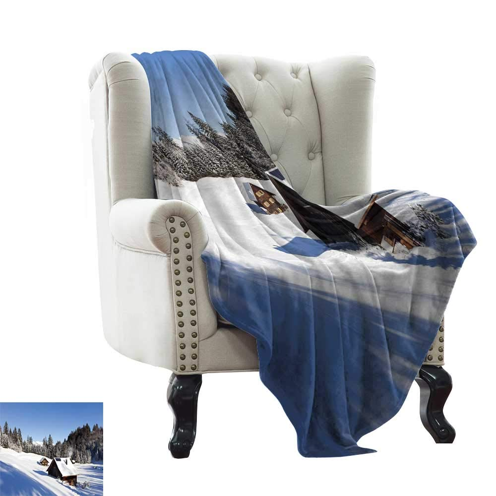 color05 60 x78  Inch Throw Blanket for Couch Winter,Kids in Winter Clothes Building Snowman Sledding and Christmas Tree Happy Times Microfiber All Season Blanket for Bed or Couch 50 x60