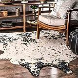 nuLOOM BIBR01B Faux Cowhide Alexa Area Rugs, 3' 10'' x 5', Black