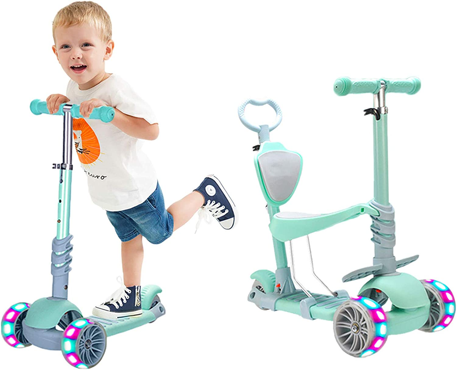 5 in 1 Kids Kick Scooter, 3 Wheels Walker with Removable Seat