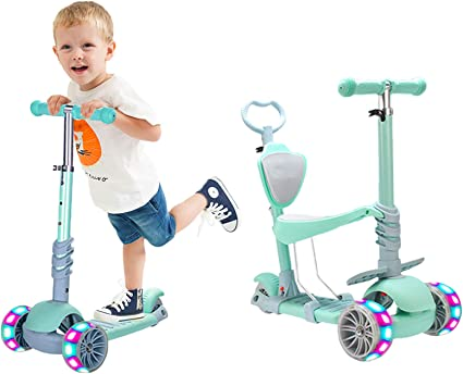 LED Scooter for Kids Deluxe 3 Wheel Glider Push Brake Adjustable Child Gift 5in1
