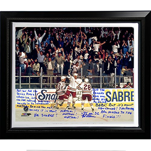 NHL New York Rangers Framed 22x26 Stephane Matteau Facsimile '94 Game 7 Go Goal Commentary' Stretched Canvas ()