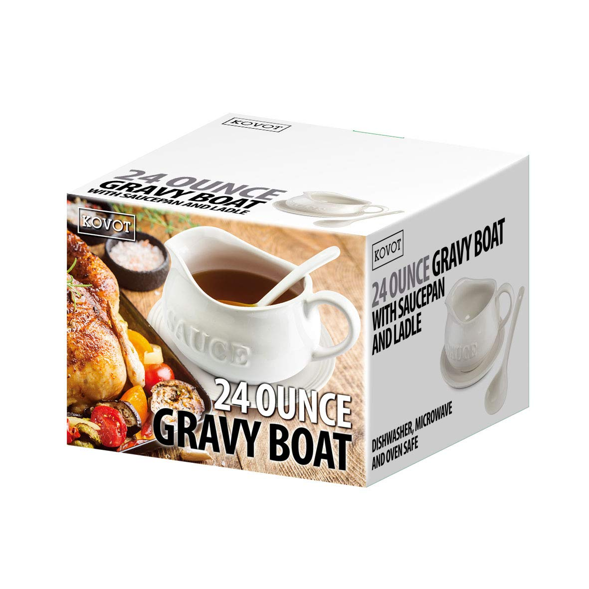 24 Oz Gravy Boat, Tray and Ladle | Ceramic White Gravy Boat With The Word''Sauce'' On It by Kovot (Image #1)