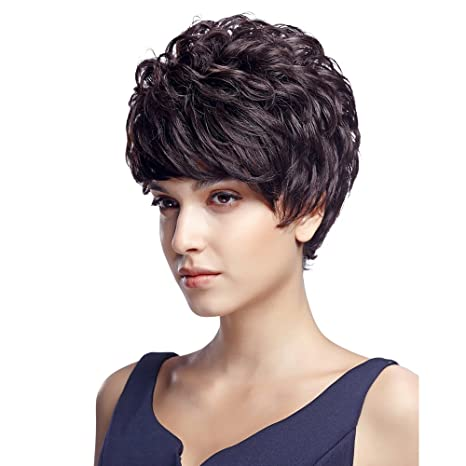Amazon.com : Sleek 100% Brazilian Short Human Hair Wig Natural Curly Layered Womens Hair Wigs for African American : Beauty