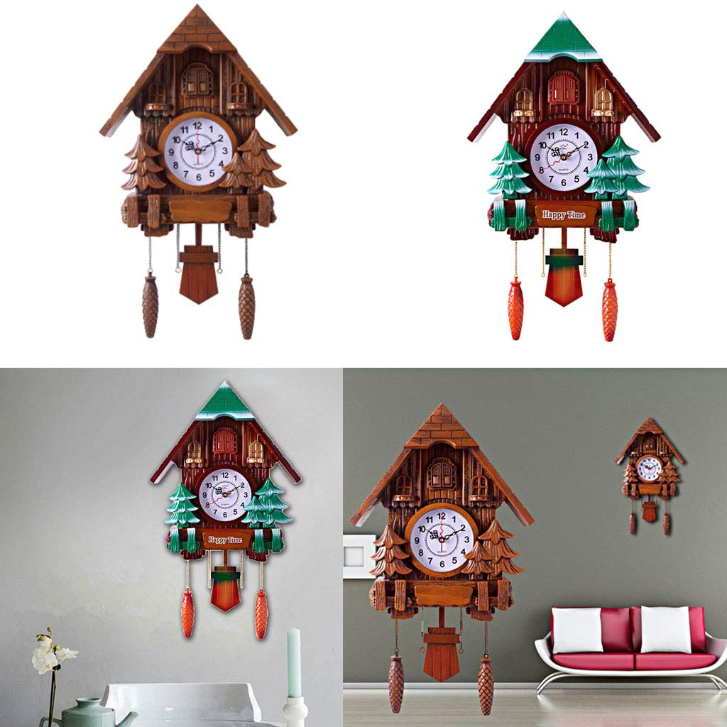 Bird Comes Out to Tell Time Green B Blesiya Cuckoo Clock Quartz-Movement Superior PC Material Decorative Wall Clock