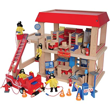 Constructive Playthings Wooden Firehouse Play Set With 4 Fire Fighters Fire Truck Furniture And Equipment