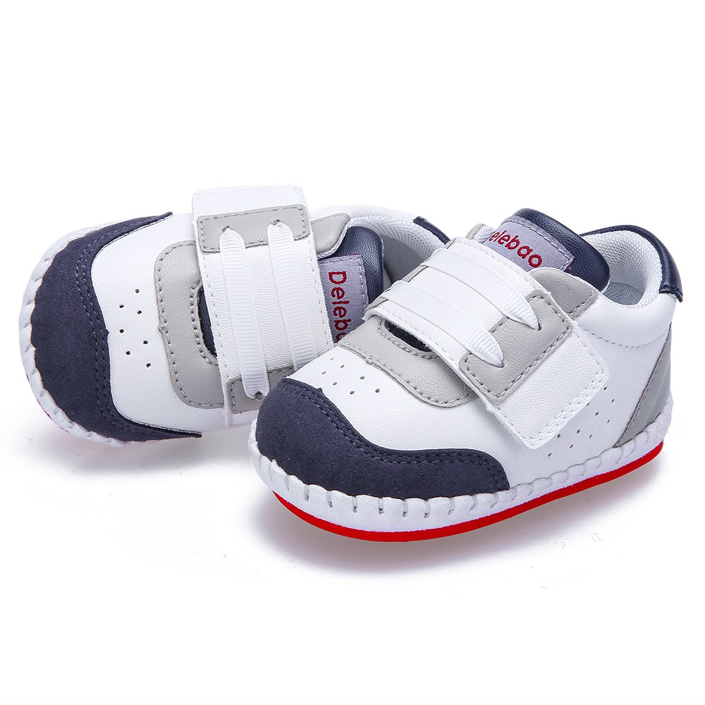 DELEBAO Baby Shoes Breathable Anti Slip Soft Sole Sneakers Hook Loop Infant Trainer for Newborn Boys and Girls