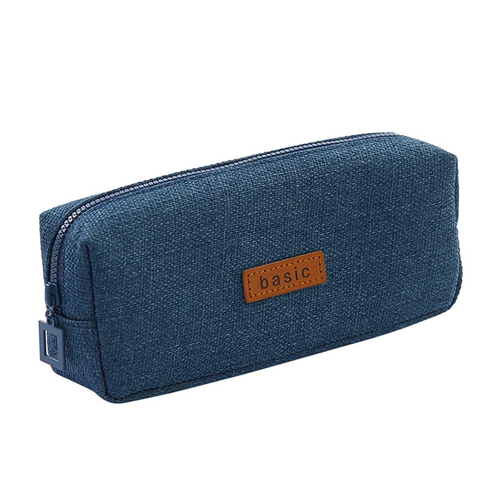 Rolin Roly Estuche Escolar Peque/ña Bolsa Para Lapices Estudiante Plumier L/ápices Bolsa Pencil Case Azul oscuro