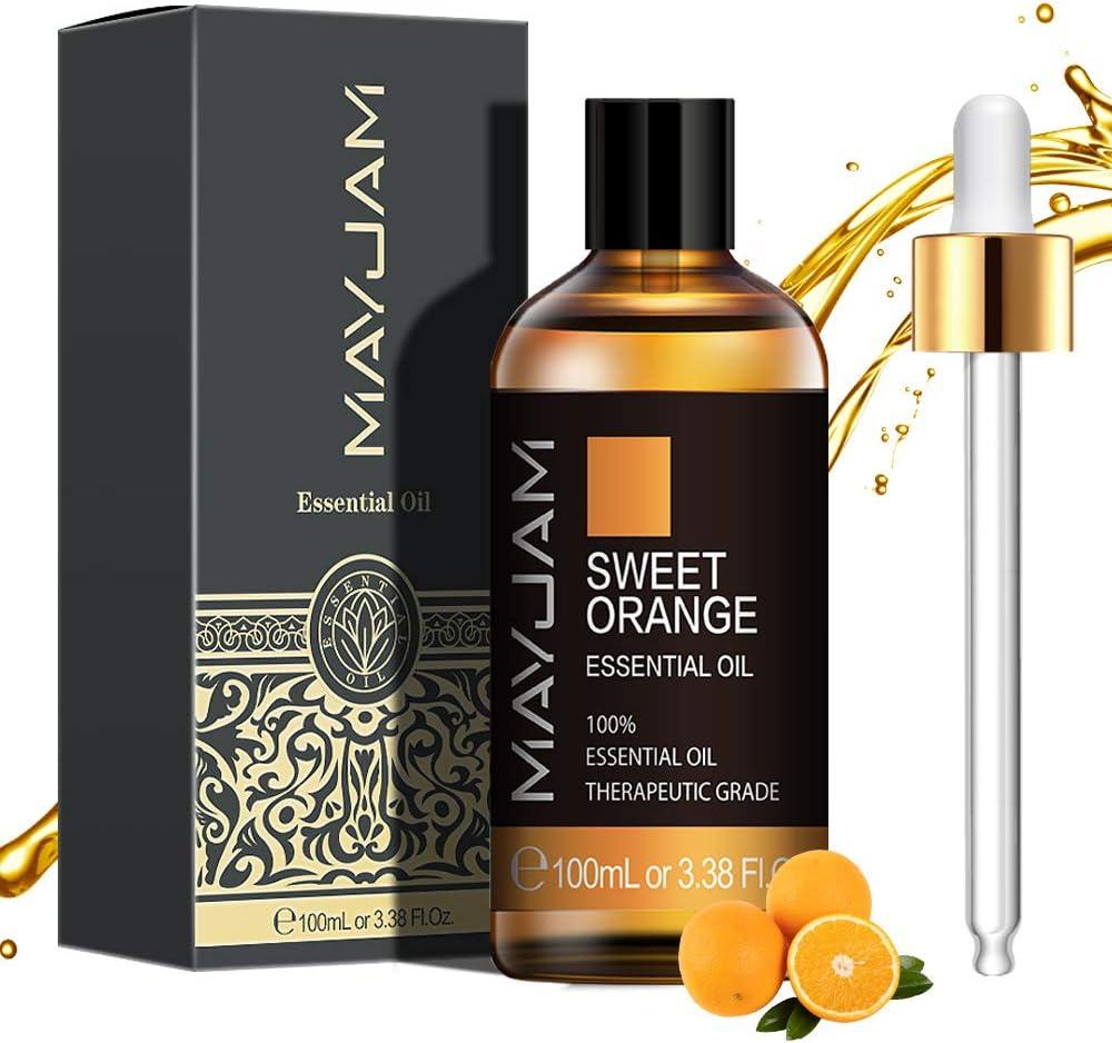 MAYJAM Aceites Esenciales de Naranja Dulce 100 ml, 100% Aceites Esenciales Naturales Puros, Aceite Esencial de Aromaterapia de Grado Terapéutico, ...