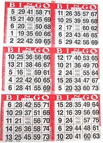 6 on Red Bingo Paper Cards - 500 sheets - 3000 cards - Bingo Cards 6 Games