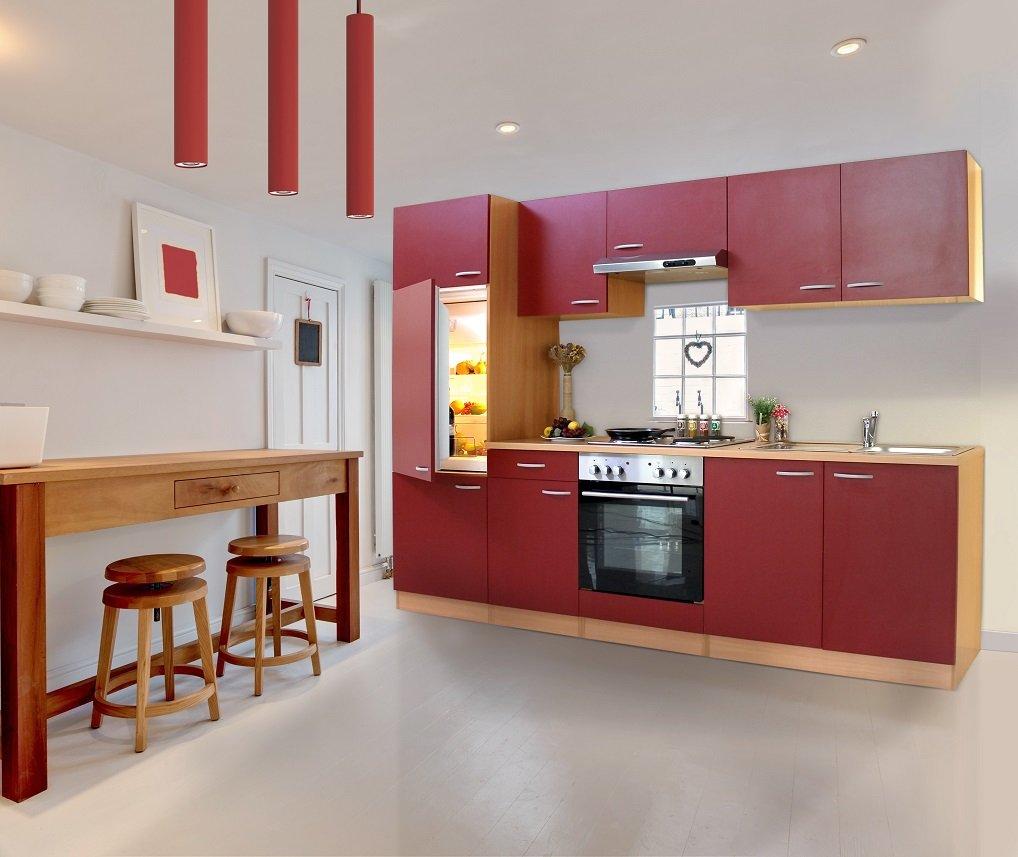 respekta Küche Küchenzeile Einbauküche Küchenblock 270 cm buche rot ...