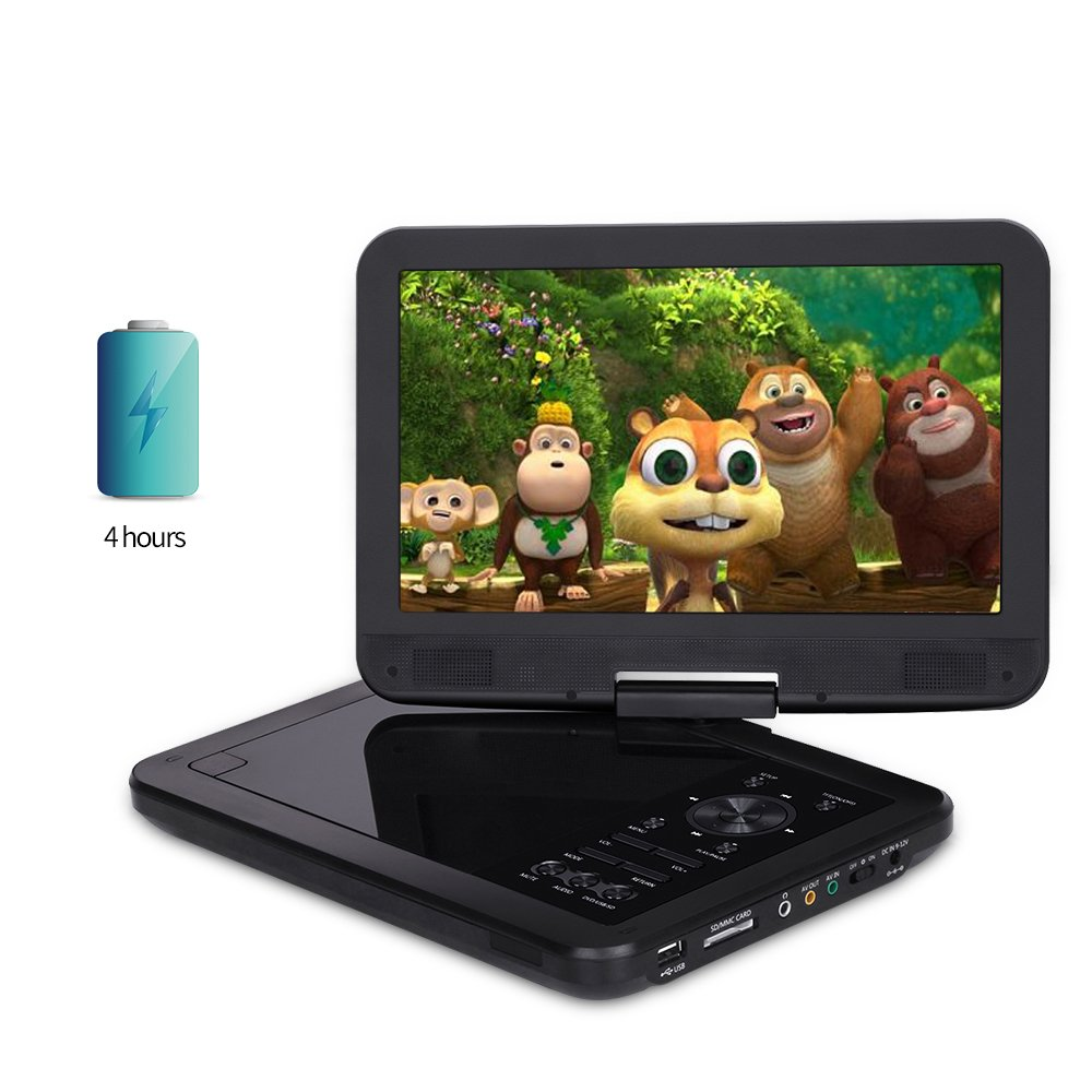 10.5'' Portable DVD Player for Car and Kids with 270°Large Swivel Screen | Headrest Mount,CREATESTAR 5 Hours Rechargeable Battery, USB/SD Card Reader Charger Mounting Kit - Black by CREATESTAR (Image #3)