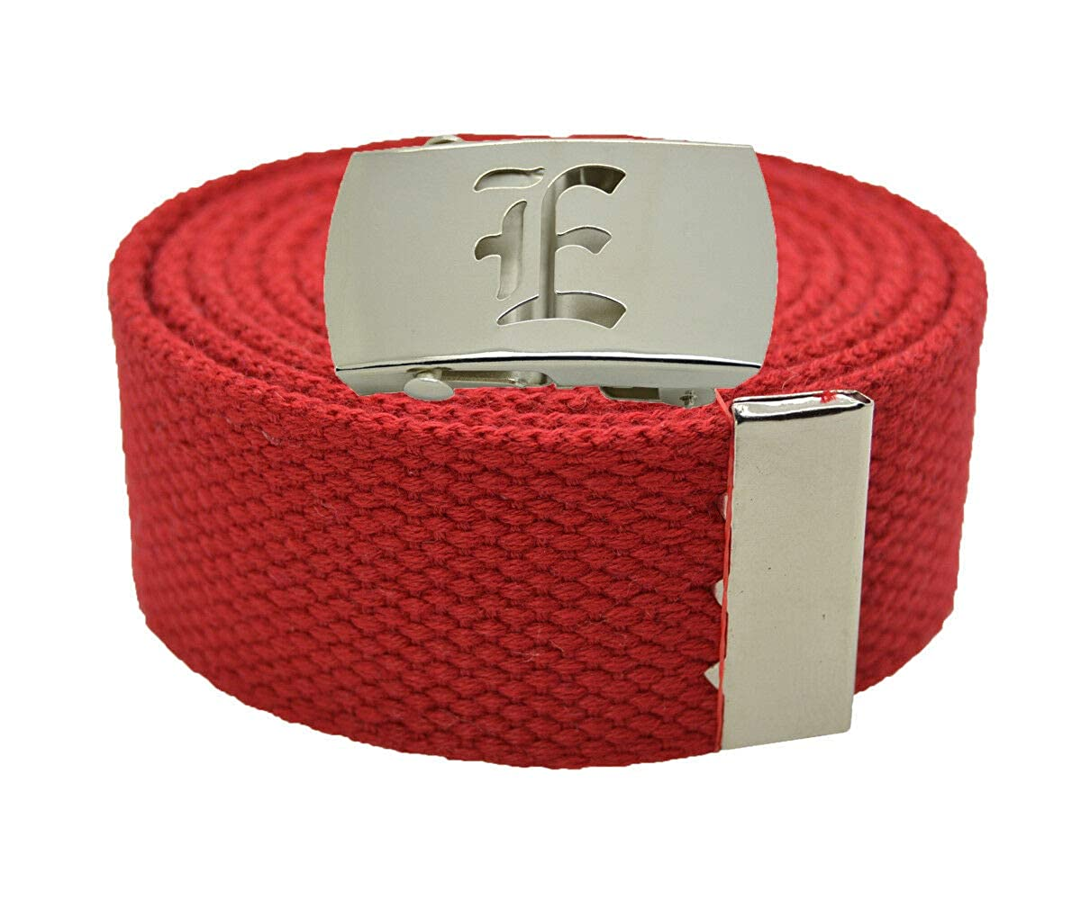 Stylish Canvas Military Web Belt /& BIGE Silver Buckle 72 Inches RED #AAAS