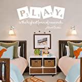 """Wall Decal Decor Playroom Decor Play is the Highest Form of Research - Albert Einstein Quote Playroom Decal Childrens Kids Wall Decal Sticker(White, 11""""h x22""""w)"""