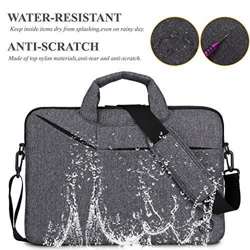Laptop Bag,BRINCH Slim Water Resistant Laptop Messenger Bag Portable Laptop Sleeve Case Shoulder Bag Briefcase Handbag with Strap for Up to 15.6 Inch Laptop/NoteBook Computer Men/Women,Dark Grey by BRINCH (Image #3)