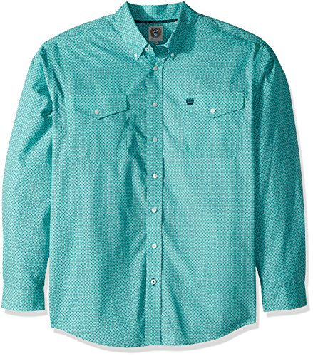 Cinch Men's Classic Fit Long Sleeve Button Two Flap Pocket Print Shirt, Sea Green, S