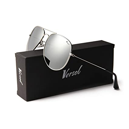 b27644a221 Image Unavailable. Image not available for. Color  Versol Aviator Sunglasses  for Men Women Polarized Metal Frame ...