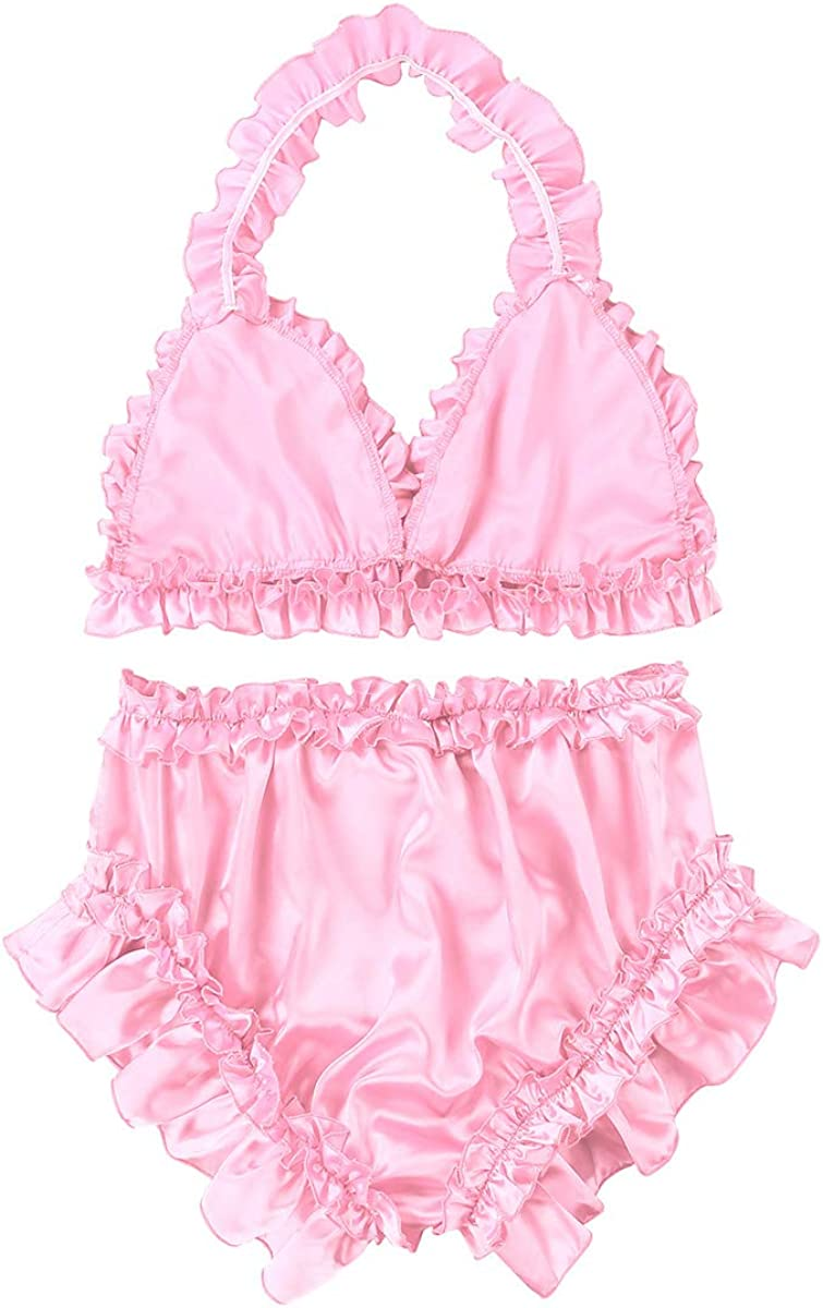 inlzdz Mens Sissy Lingerie Set Ruffled Satin Halter Neck Bra Tops with Knickers Bloomers Nightwear
