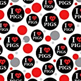 I Love Pigs Heart Snout Premium Gift Wrap Wrapping Paper Roll