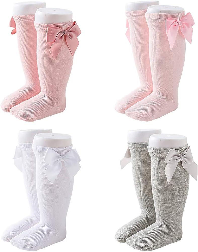 Girls Knee High Flat Tube Socks Child Baby Big Bow Knot Stocking Spring 0-7 Years Knit Anti-Slip Spanish Happy Cherry
